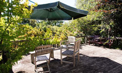 Relax on your Motueka holiday home veranda with a glass of wine.